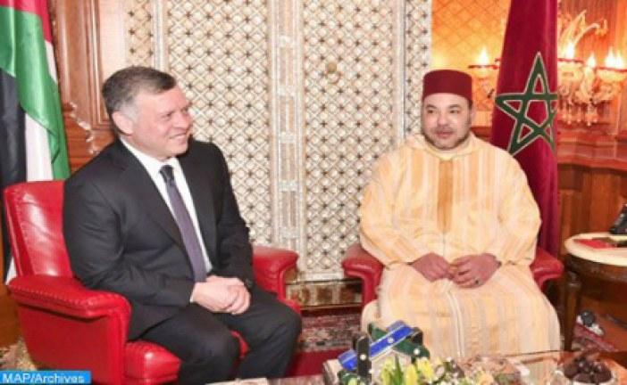 صاحب الجلالة الملك محمد السادس يتلقى اتصالا هاتفيا من صاحب الجلالة الملك عبد الله الثاني